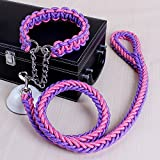 WZPB Adjustable Heavy Duty Denim Dog Leash Collar for Small and Large Dog, Perfect for Daily Training Walking Running (L, Purple-pink)