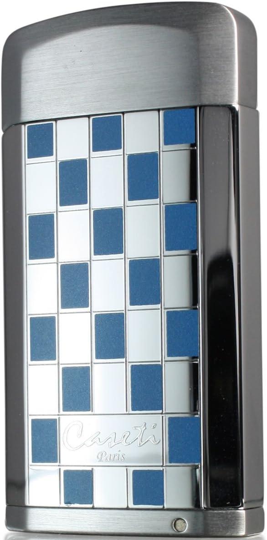 Visol Products Caseti Gaspar Jet Flame Lighter with Cigar Punch Blue Grid Lacquer
