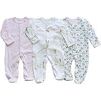 Bebé Mameluco de Algodón Piezas de 3, Recién Nacido Pelele Niño Niña Pijama Monos Manga Larga Body Ropa para Bebé 0-12…