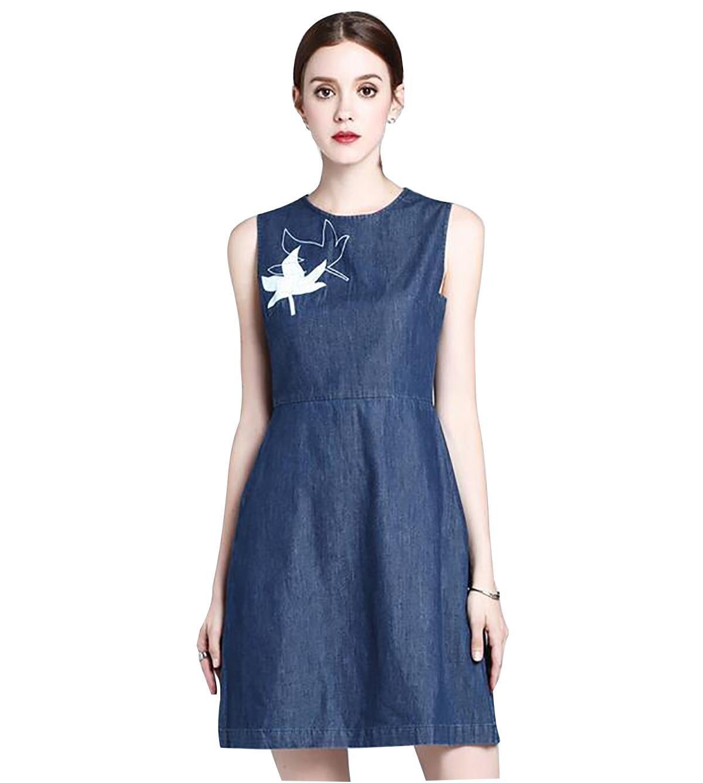 vestido y largas secciones de la cintura nueva cuello redondo sin mangas de mezclilla 2017 verano