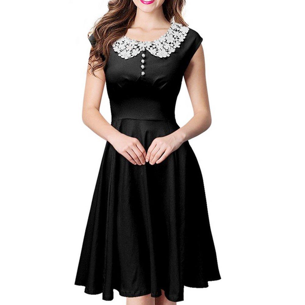 JYUAN Women's Classy Vintage Audrey Hepburn Style 1940's Rockabilly Evening Dress (L, Black)