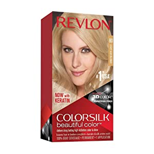 Revlon Colorsilk Beautiful Color, Permanent Hair Dye with Keratin, 100% Gray Coverage, Ammonia Free, 80 Light Ash Blonde