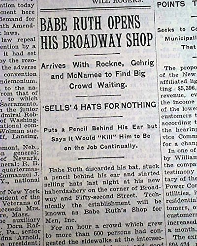 BABE RUTH Opens Souvenir Shop on Broadway YANKEES 1930 New York Times Newspaper THE NEW YORK TIMES, September 6, - Souvenir Broadway Shop