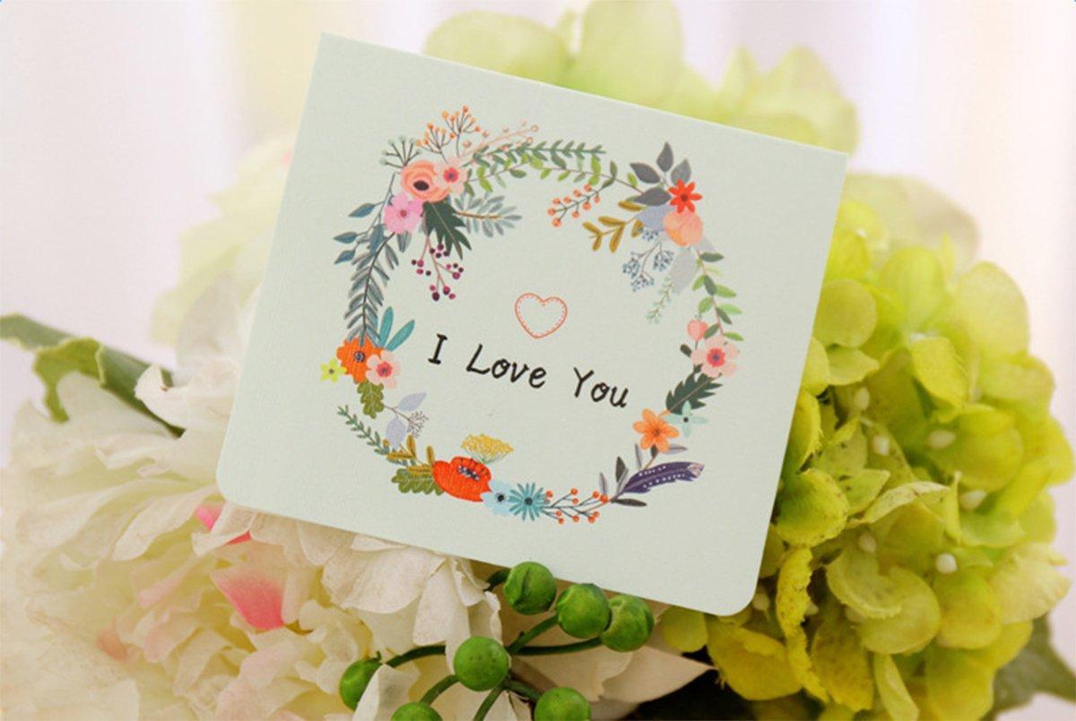 con sobre lumanuby tarjetas y sobres tarjeta de bendici/ón I Love You creativo est/ética flores tarjeta de felicitaci/ón de a/ño nuevo d/ía gracias tarjeta de bendici/ón de Navidad Ingl/és DIY plegable