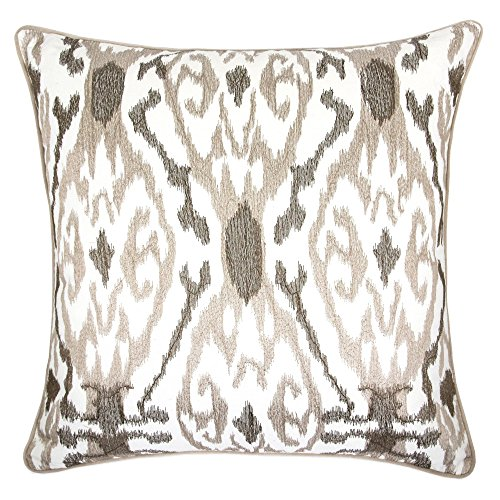 Homey Cozy Woven Cotton Throw Pillow Cover,Beige Series Ivory and Beige Brown Decorative Square Couch Cushion Pillow Case 20 x 20 Inch, Cover Only ()