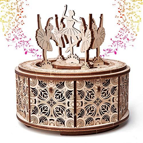 Dancing Ballerina Music Box Kit Swan Lake, DIY Wooden Music Box Ballerina - 3D Wooden Puzzle, Assembly Toy, Brain Teaser, ECO Wooden Toys - Music Box DIY, Ballerina Musical Toys