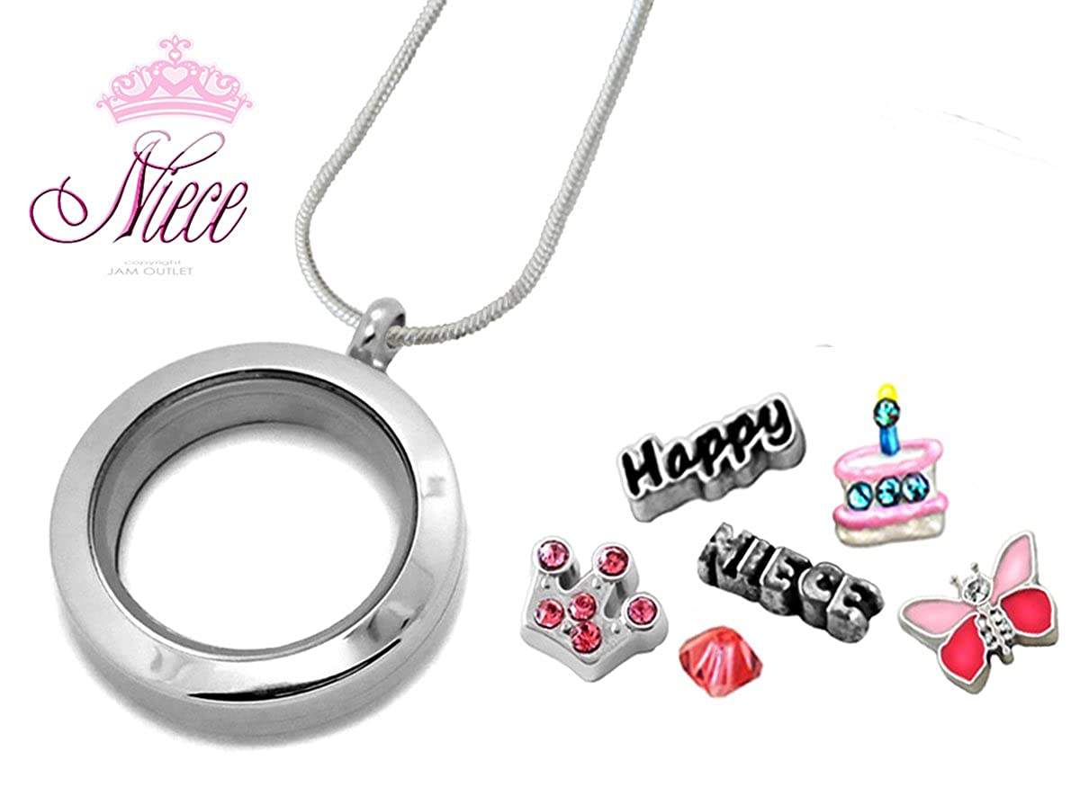 NIECE Birthday SMALL 25mm Memory Locket Pendant Set, Floating Charms, Sterling Plated Necklace Gift Boxed Jam Outlet Three Creations