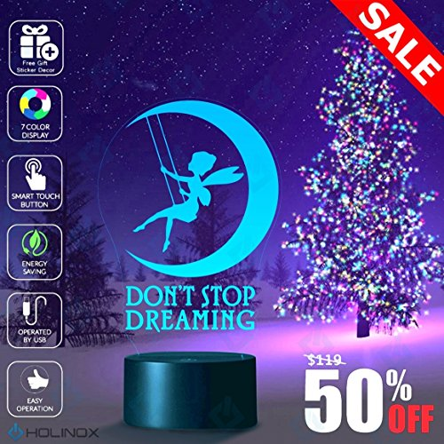 Don't Stop Dreaming, Dream lamp, Fairy and moon decoration, Kids Nightlight, Best Christmas Gift, Decoration lamp, 7 Color Mode, Awesome gifts (MT212) - 2016 Costume Ideas For Kids