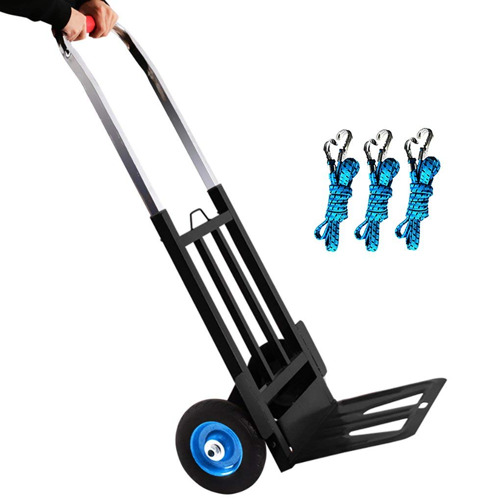 Zehaer Portable Trolley, Shopping cart Trolley Folding Load King 100kg Telescopic Rod Suitable for Warehouses, Farms, Factories 6.7-inch Rubber Wheels Large Multifunction (Color : B) (Color : A)