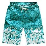 MODOQO Men's Swim Trunks Quick Dry Drawstring Waist Board Shorts with Pocket(Light Blue,XXL)