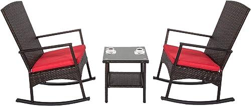 kinbor 3PCS Outdoor Rattan Rocker Chair Side Tea Table Set
