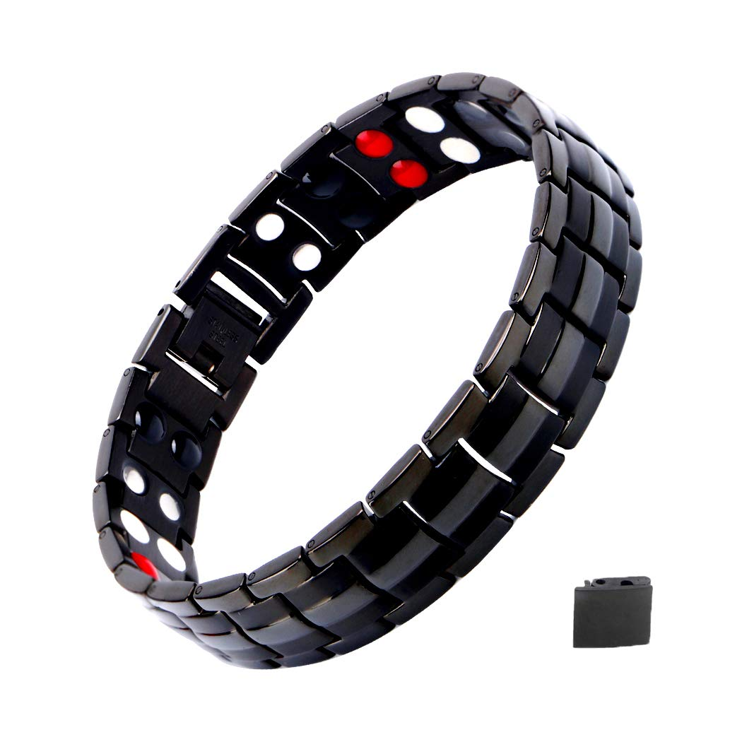 Mens Magnetic Bracelet, Titanium Therapy Bracelets for Men Healthy Sleek Cuff Wristband for Relief Pain with Free Link Removal Tool by Shoguu