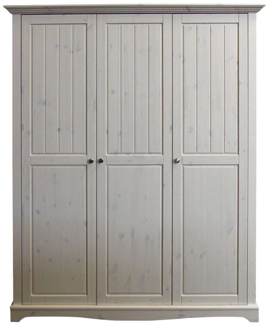 Steens 102 Lotta Kleiderschrank, Kiefer, 3-turig, 201.8 x 169.3 x 57.9 cm, white wash