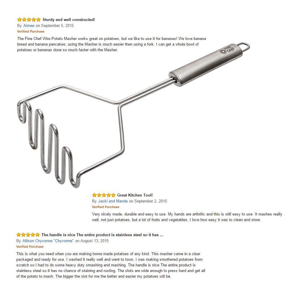 Buy Fine Chef Wire Potato Masher Stainless Steel 18 10 Durable Tool That Allows You Not Only To Draw Wiring Diagrams But Also Large Size 11 Inch Silver Satin Finish Long Handle Hanging Loop Commercial