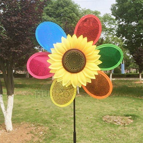 Generic diseño de girasol molino decoraciones de jardín Multicolor viento Spinner Whirligig gamuza de jardín molino de viento decorativo para jardín decoración Kid Regalo D: Amazon.es: Hogar