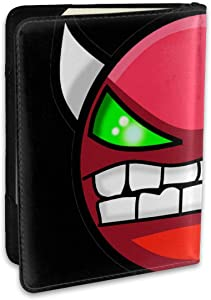 Geometry Dash Fashion Leather Passport Holder Cover Case Travel Wallet 6.5 In
