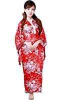 CNS Kimono Robe [ Red Cherry Blossoms Design ] Japanese Traditional Costume