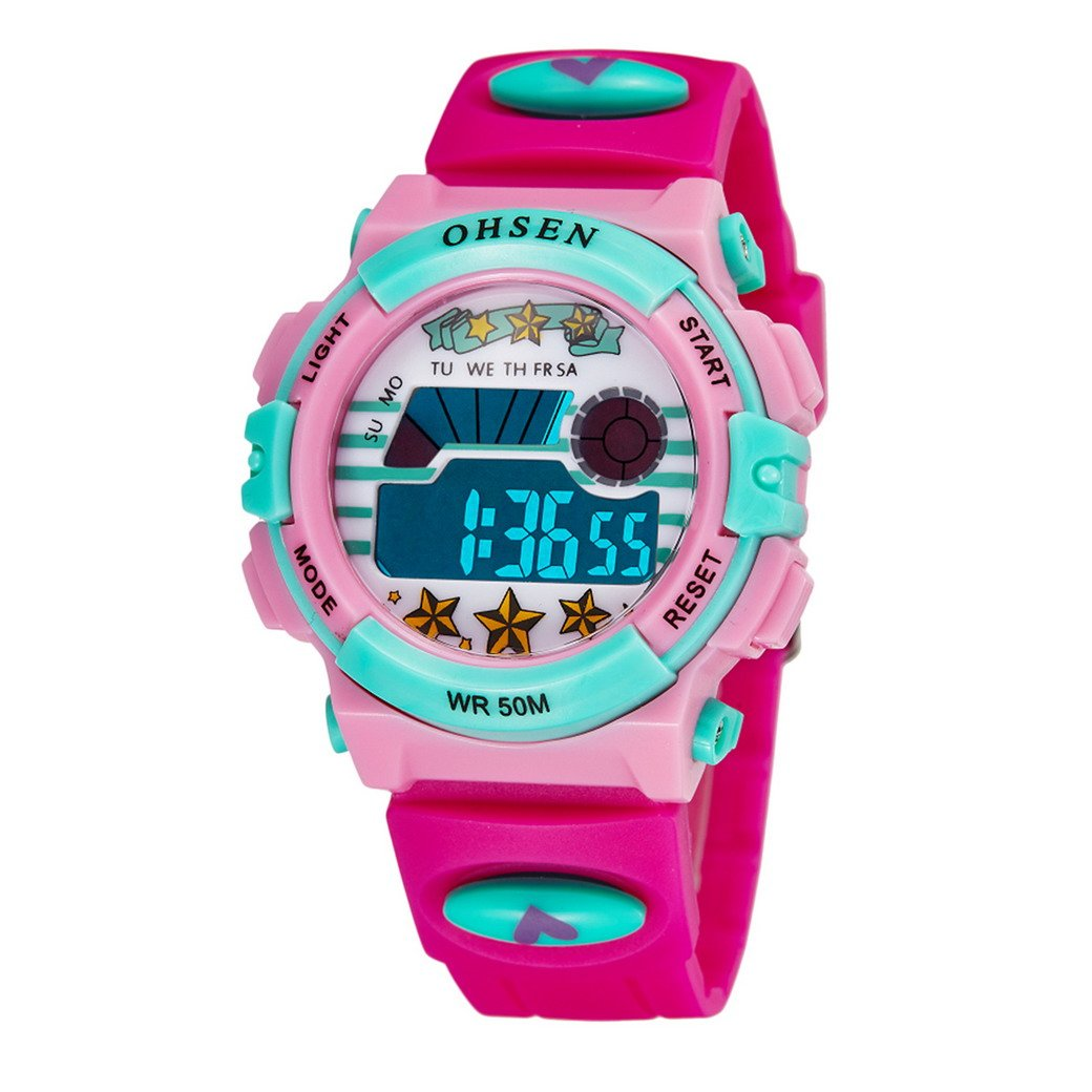 Aubig Colorful Watch Outdoor Sports Boys Girls LED Digital Alarm Stopwatch Waterproof Student Wristwatch Dress Gift Watch Red