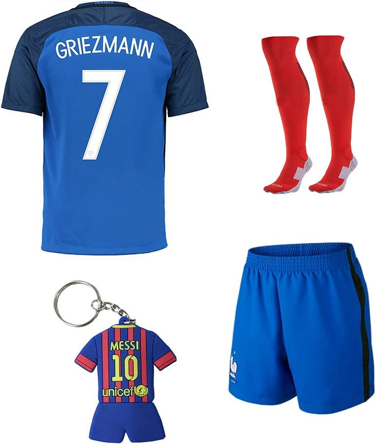 Equipo de Fútbol Kids 2015 – 2016 Francia de fútbol Home Jersey Griezmann # 7 – Traje Camisa y juego de pantalón corto de calcetines y llavero, diseño ...