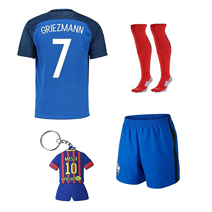 21479dd3654 shopping soccer kids 2015 2016 football soccer france home jersey griezmann  7 kids team suit 2f52f 2af43