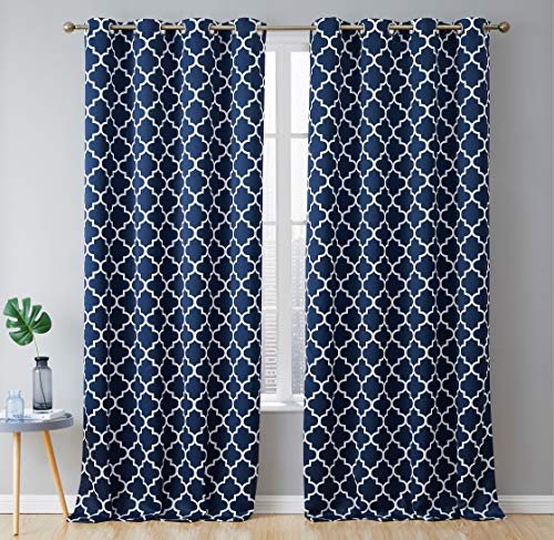 HLC.ME Lattice Print Thermal Insulated Room Darkening Blackout Window Curtains/Drapes - Navy Blue - 52
