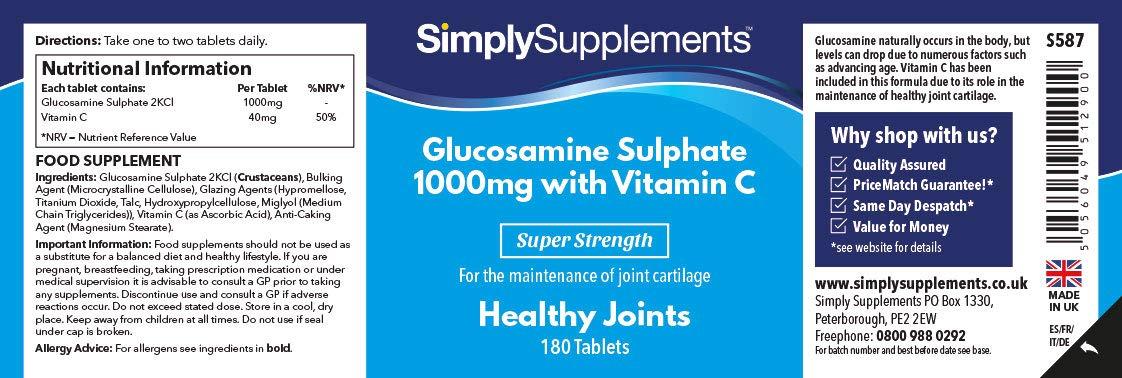 Glucosamina 1000mg con Vitamina C - 360 comprimidos - Hasta 1 año de suministro - Favorece la salud de tus articulaciones - SimplySupplements: Amazon.es: ...