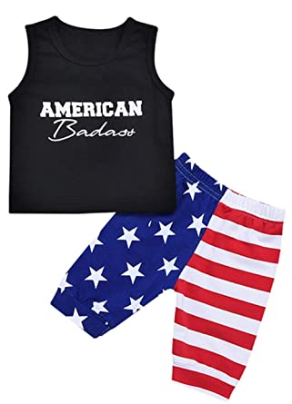 a595b677a0e3 2Pcs Cute 4th of July Tollder Boy Girl Tshirt Outfit Red White and Blue  Sleeveless Tops