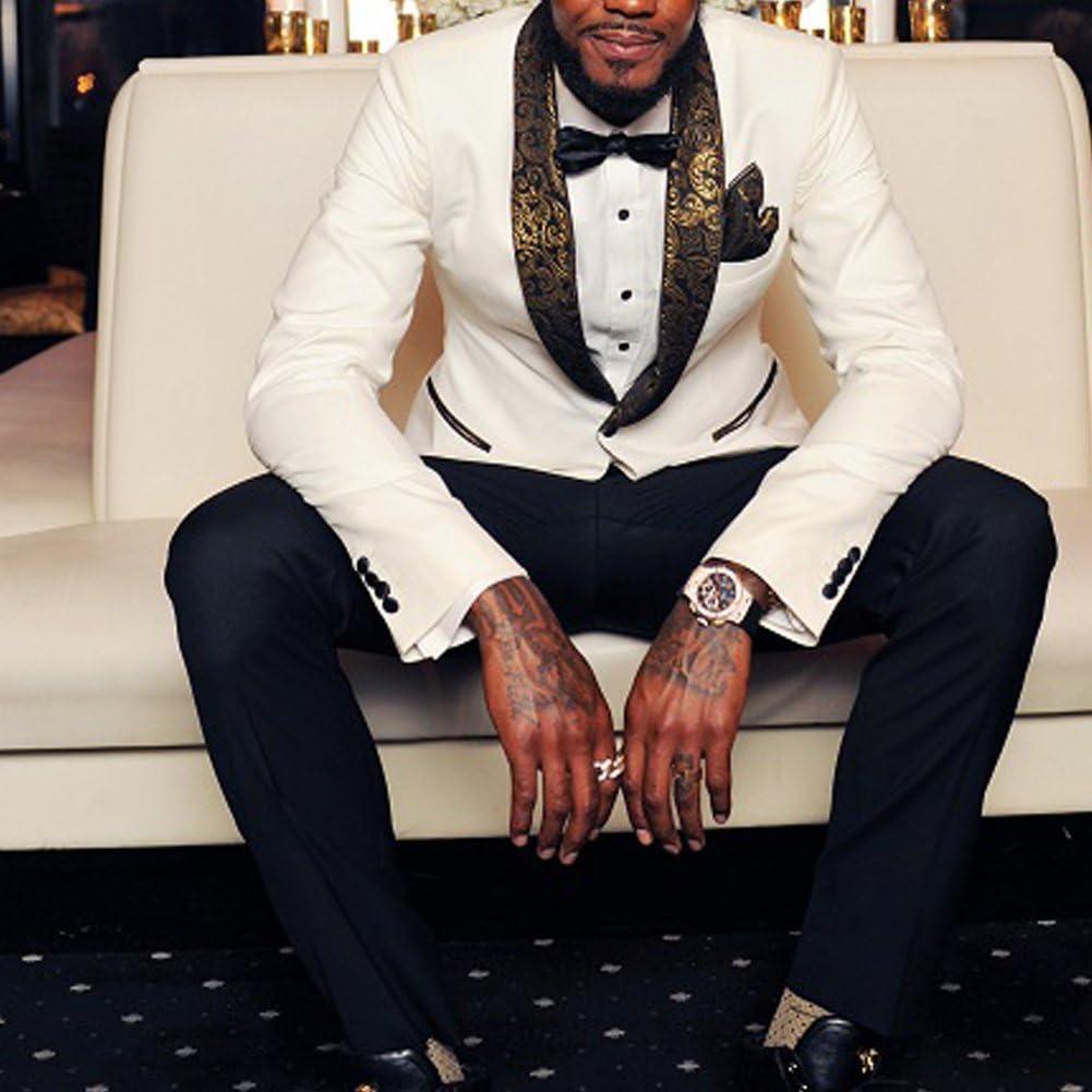 Michealboy Men Suit Slim Fit 2-Piece One Button Shawl Collar White Wedding Dinner
