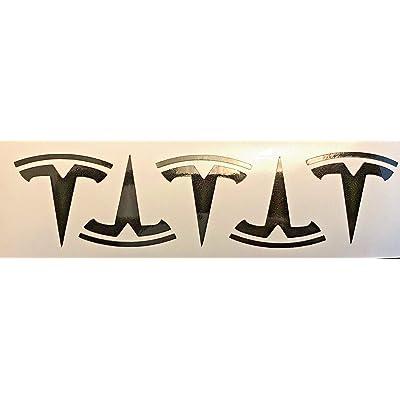 Tesla Model S/X / 3 Wheel Center Cap Logo T Decals (Black Metallic): Automotive