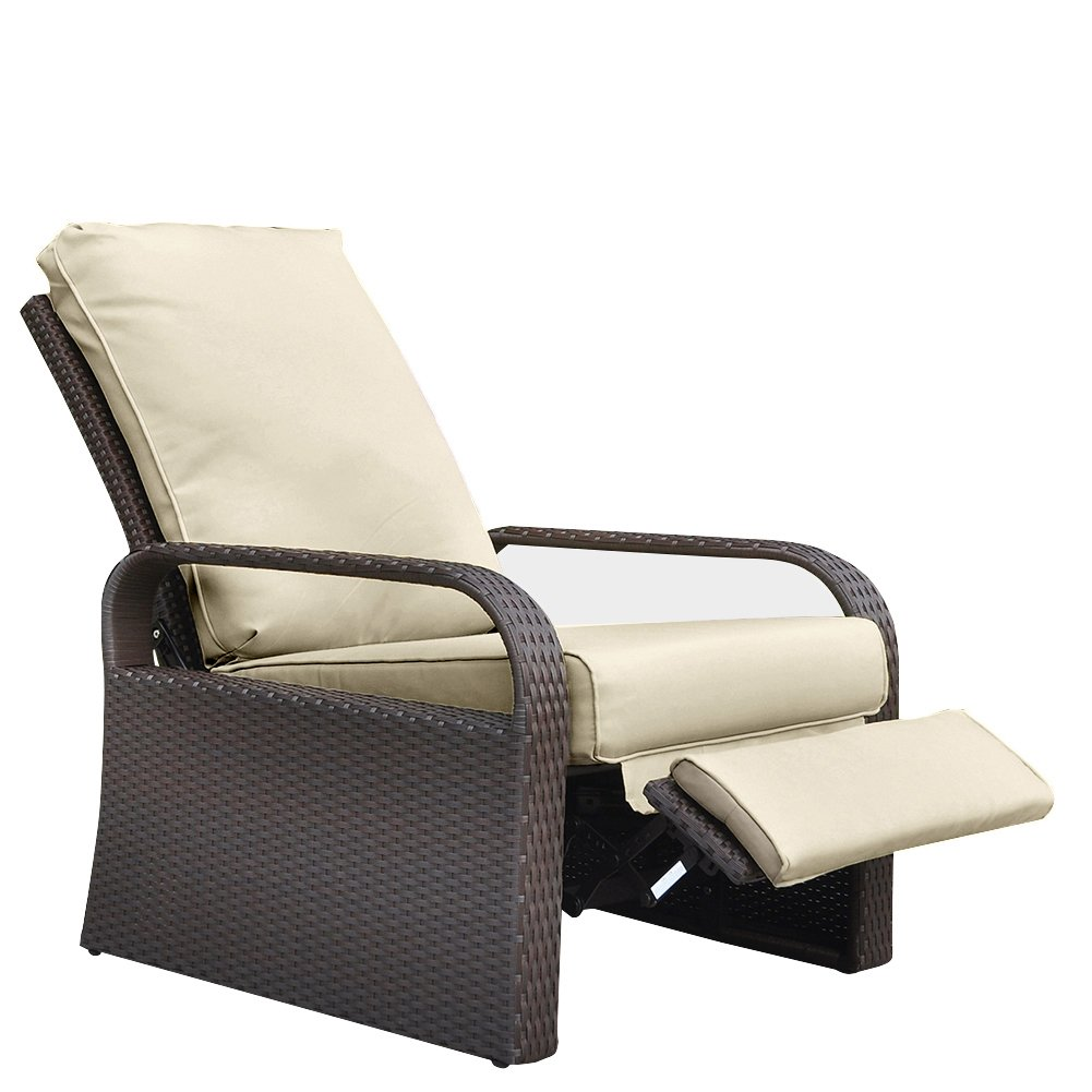 Babylon Outdoor Recliner Wicker Patio Adjustable Recliner Chair with 5.11'' Cushions and Ottoman,Rust-Resistant Aluminum Frame,All-Weather Resin Rattan, Brown& Khaki