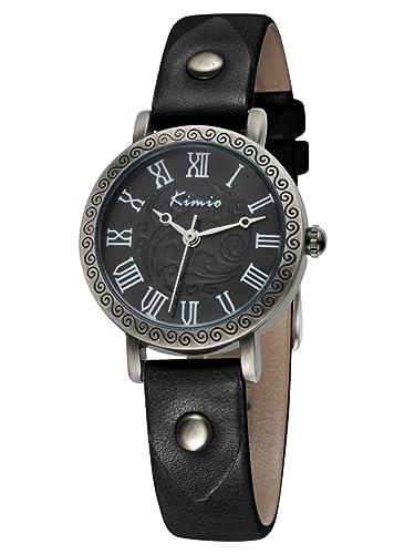 Alienwork Quarz Armbanduhr vintage Uhr Damen Uhren Mädchen Punk Niet Leder schwarz YH.KW529S-01