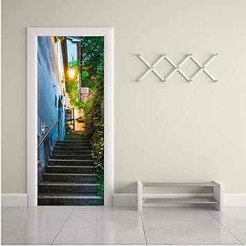 Etiqueta de puerta Escalera 77cmx200cm 3d Papel pintado de la ...