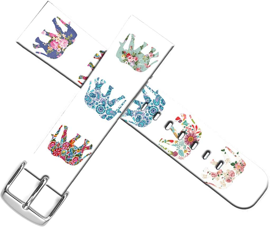 Strap Compatible For Apple Watch Series SE/6/5/4/3/2/1 42mm/44mm - ENDIY Designer Leather Fashionable Band Replacement For Iwatch Floral Flower Colorful Cute Elephant Animal Design Print For Girls