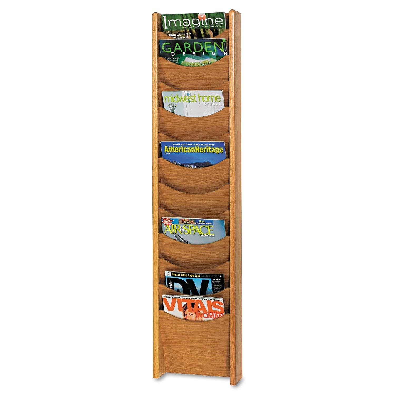 Safco Products 4331MO Wood Magazine Rack, 12 Pocket, Medium Oak
