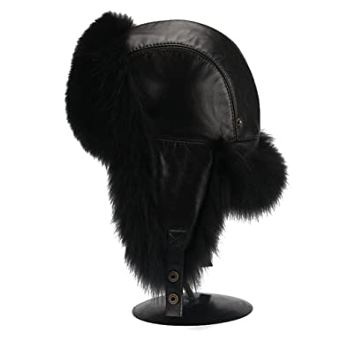 12295942e77d0 Image Unavailable. Image not available for. Color  FURTALK Men s Vintage  Leather fox Fur Aviator Hat ...