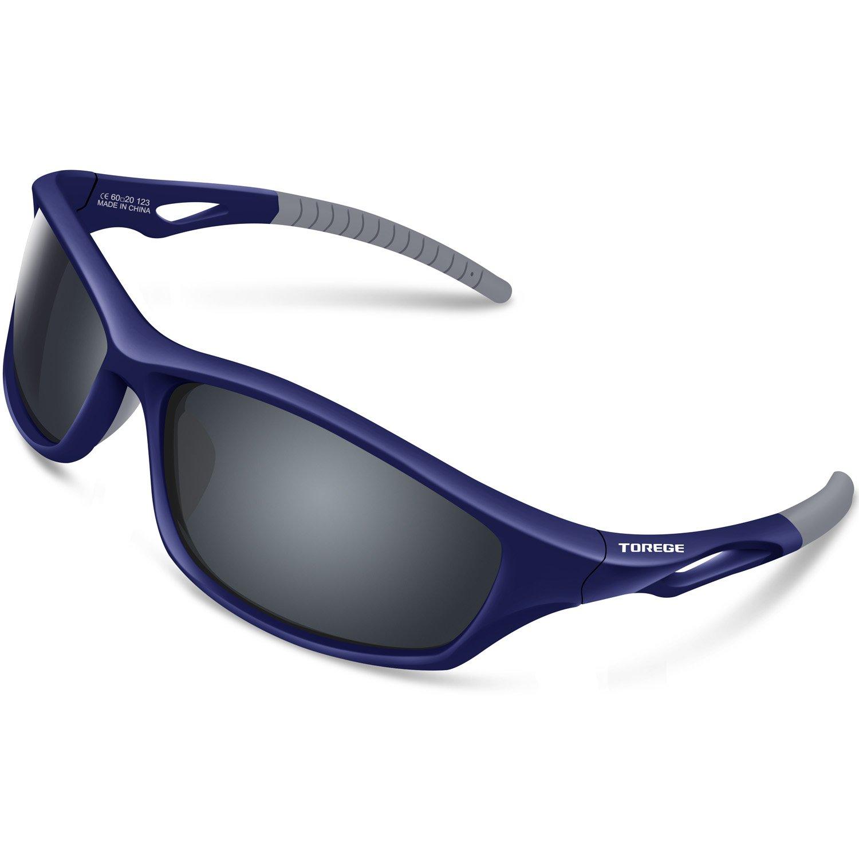 Torege 偏向スポーツサングラス 男女兼用  サイクリング ランニング 釣り ゴルフ用TR90耐破損性フレーム TR011 青&グレー Tips&グレー lens