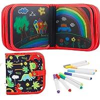 """Felly Tekenspeelgoed voor kinderen, uitwisbare tekenpad 8""""x8"""" Dubbelzijdig Graffiti Blackboard met 12 gekleurde…"""