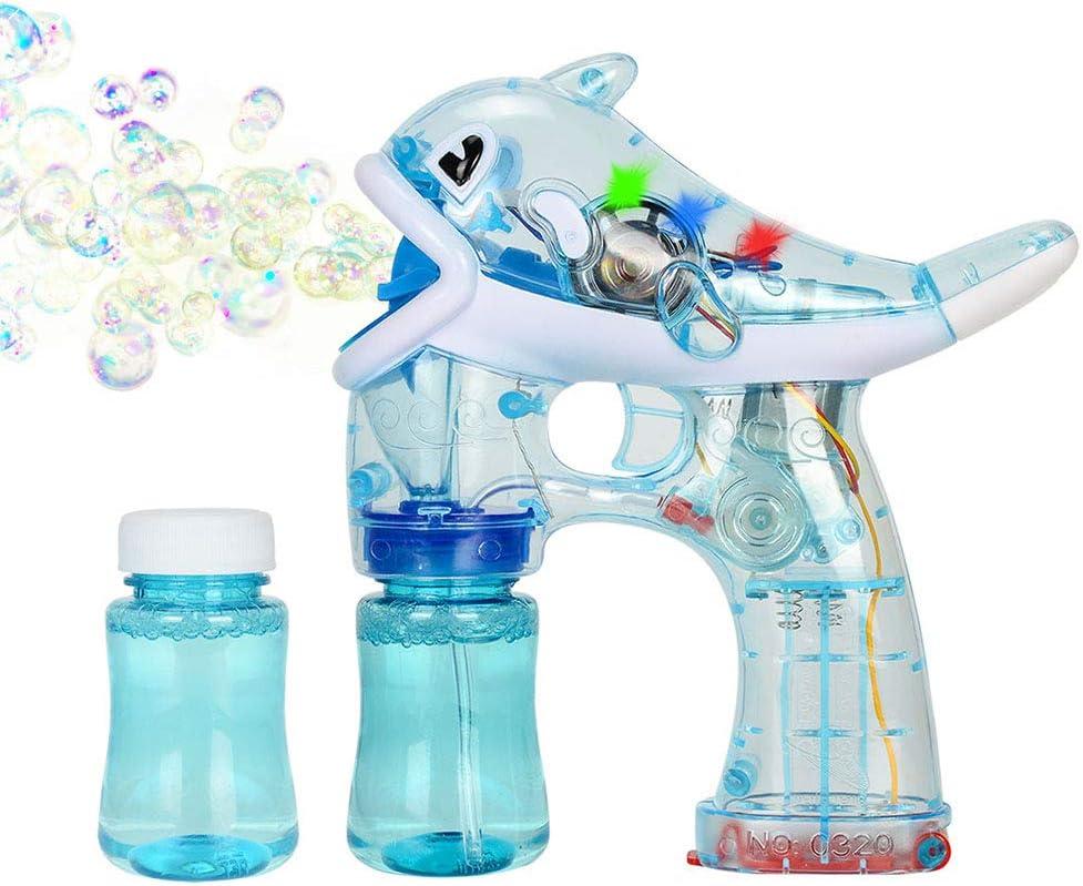 Xpizo La Pistola de Burbujas eléctrica Dolphin Style Light Up LED con música (Azul)
