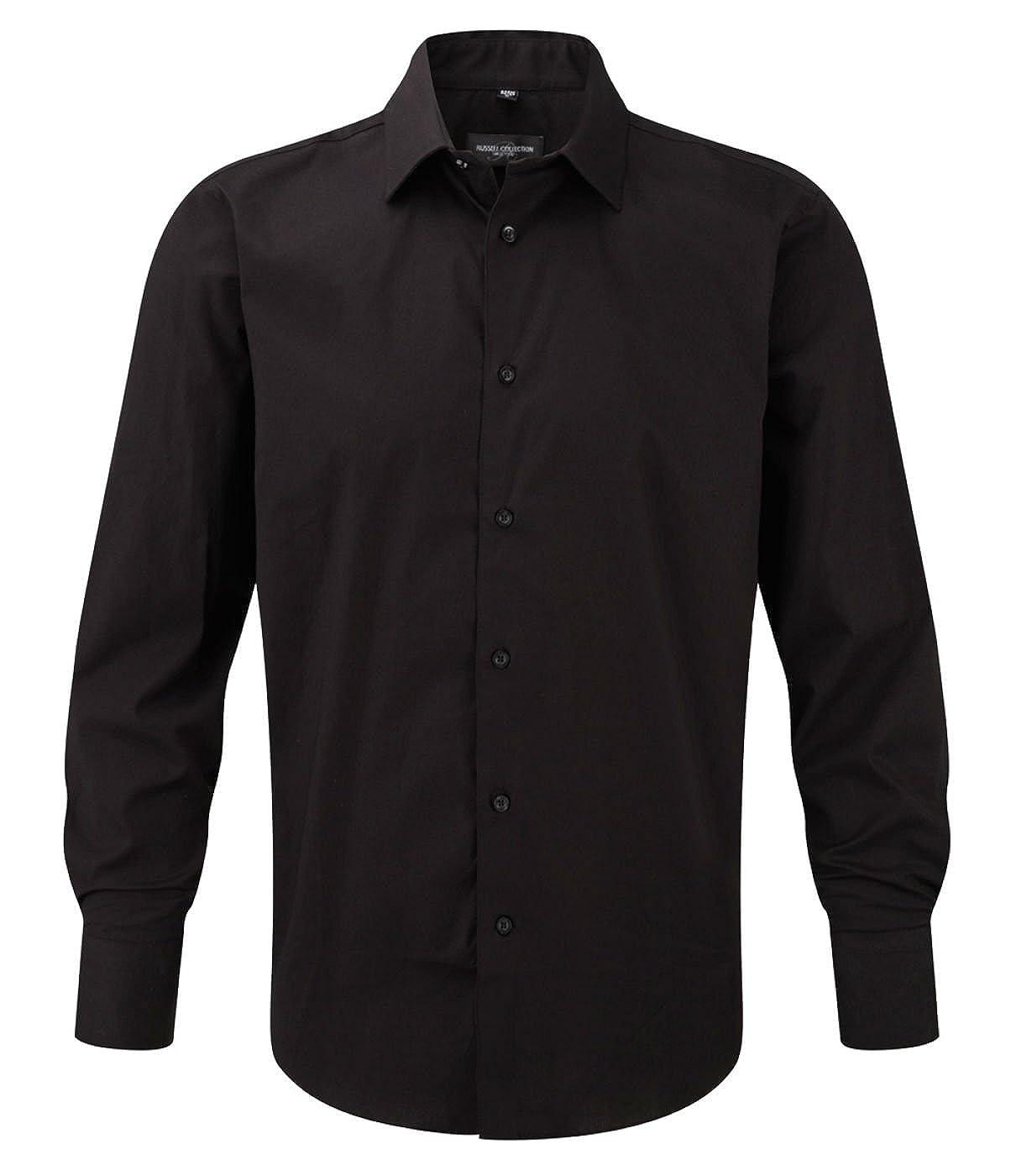 Russell Collection Herren Einfarbig Freizeit-Hemd Gr. XXXXL, Schwarz - Schwarz
