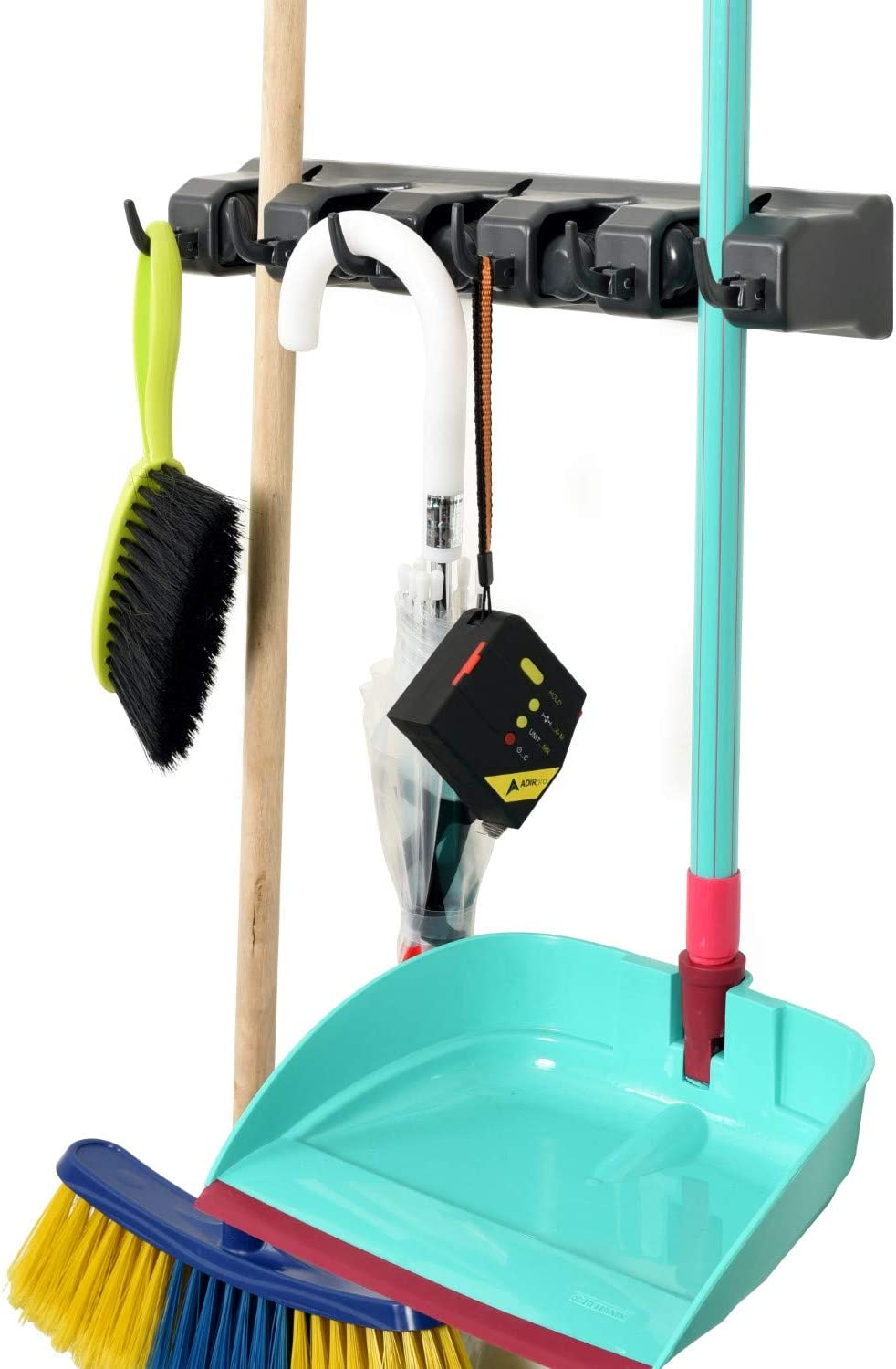 Alpine Industries Mop and Broom Holder 5 Slots 6 Hooks – Durable, Wall Mounted Cleaning Tools Rack Hanger for Home Kitchen Garden Garage Basement Use