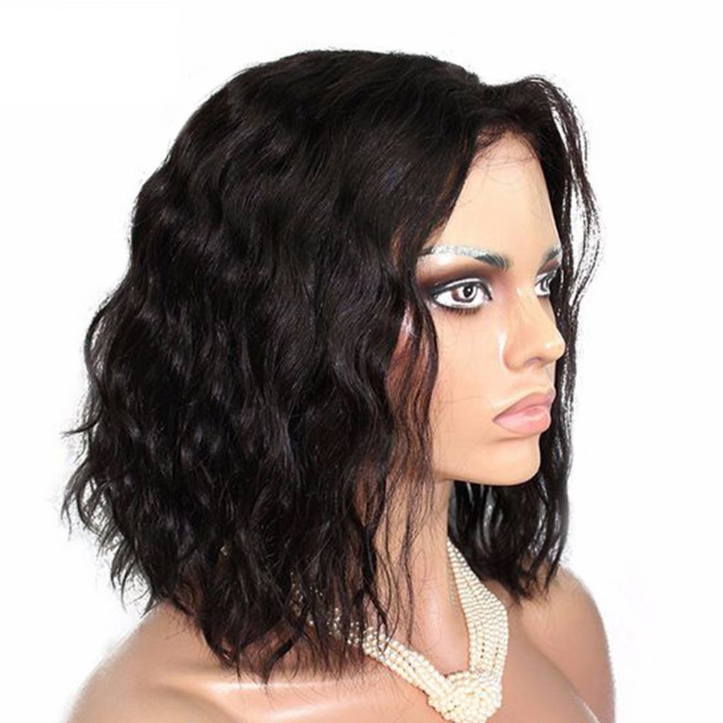M-Egal 13.7Inch Natural Synthetic Black Wavy Short Bob Wigs Heat Resistant Hair Wigs
