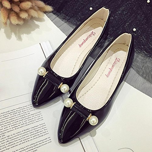 Byste Well With Work Women Lightweight Loafer Scrub Pants Slip Heel Skirts On Sandals Wearing Point Pear Flat Toe Boat Ladies Square Shoes Your Office Decoration Black Safety Casual Comfy Match qqxS4rwT