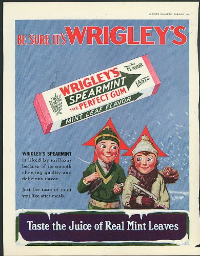 Be Sure it's Wrigley's Spearmint Gum Spear man ad 1930 ice ()