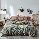 mixinni Vintage Style Garden Flower Duvet Cover Set with Zipper Closure Soft Cotton Flower Pattern on Blue Bedding Quilt Cover Set(Queen,Autumn)