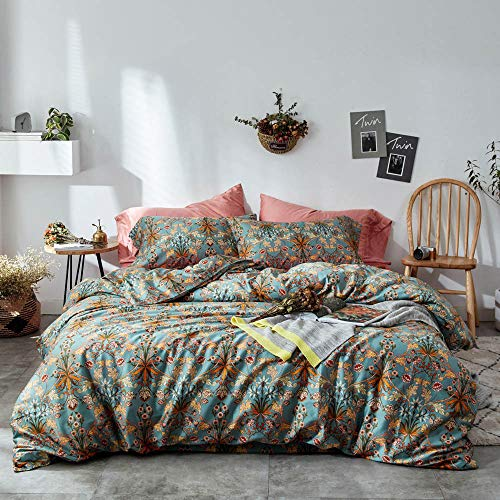 Garden Duvet Set - mixinni Vintage Style Garden Flower Duvet Cover Set with Zipper Closure Soft Cotton Flower Pattern on Blue Bedding Quilt Cover Set(Queen,Autumn)