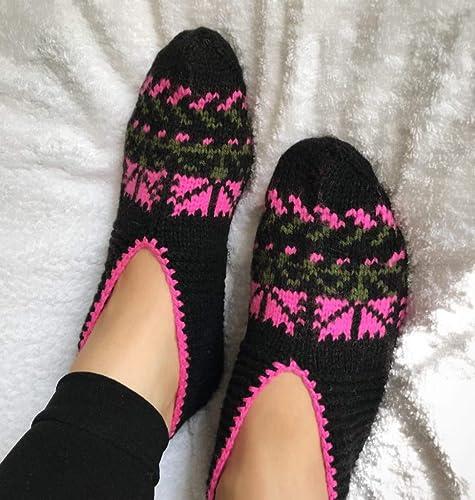 033ed47afe66a Amazon.com: Hand Knitting Home Slippers/Handmade Blue Black pink ...
