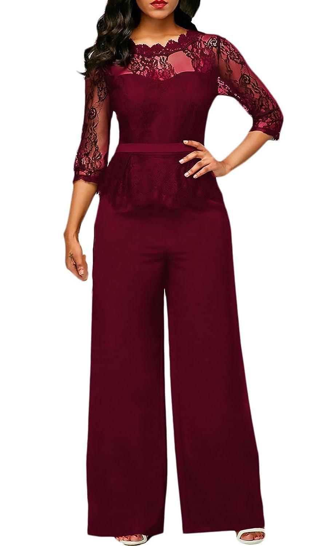 TALLA S. Monos De Vestir Mujer Largo Pantalon Elegante Verano Splice Encaje Mangas 3/4 Mono De Noche Moda Casual Transparentes Ropa Fiesta Modernas Pata Ancha Jumpsuit