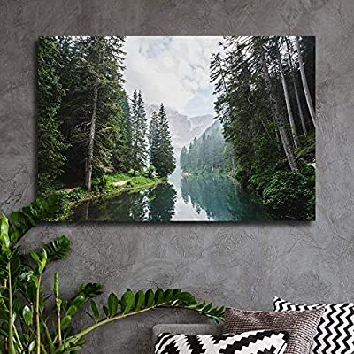 Canvas Wall Art - Clear Lake and Mountain in The Forest - Giclee Print Gallery Wrap Modern Home Art Ready to Hang - 24x36 inches