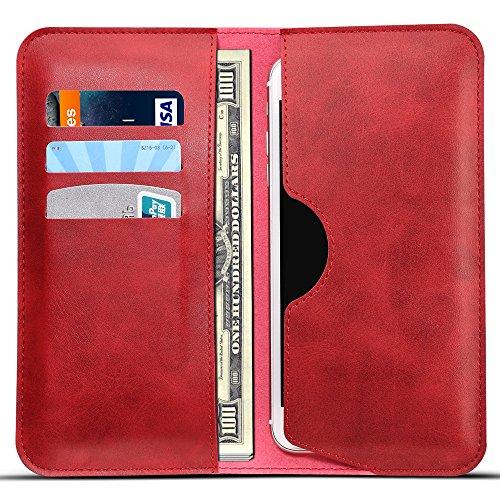 Universal Handyhülle Schwarz Premium PU-Leder Wallet Brieftasche 2 in 1 Schutzhülle Folio Cover mit Karte Slots 5.5 Zoll iphone 8 6/7/5 Plus + Samsung S6/S6 edge/S7 Huawei P9/P8 P10 plus