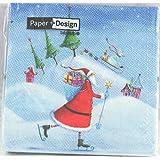 Paper + Design Tovaglioli di carta Here comes Santas babbo natale e regali 33x33 cm pz 20